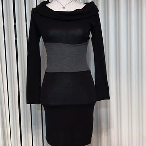 Black and Gray Cowl Neck Sweater Dress